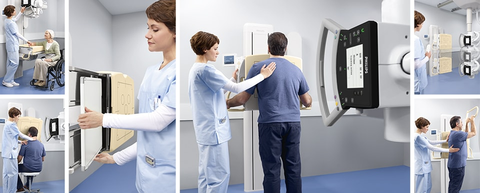 Chest Xray room nurse helping patients